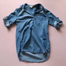 Cloth & Stone Women's Cuffed SS V Neck Chambray Top Blue Small
