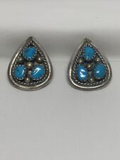 Navajo Sterling Silver Turquoise Ear-rings, 6.15g