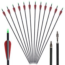 """6x 31"""" Spine 500 Archery Hunting Fiber Carbon Arrows Recurve Bow Longbow Target"""
