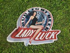1990s Lady Luck bud light Bomber Plane Beer Bar Pub Tin Advertising Sign
