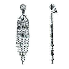 Kenneth Jay Lane 9 row gunmetal crystal baquette earrings 3635EGMC
