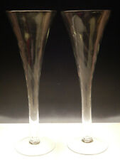 2 Tall Champagne Flutes swirl Pattern Glass