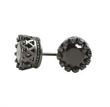 10mm/8mm Men Sterling silver Post Black Royal Crown Round Zircon Earrings Studs
