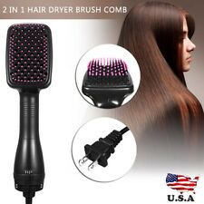110V 2In1 One Step Hair Blow Dryer+ Hot Air Styler Curling Wand Comb Brush US