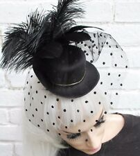 BLACK SPOT VEIL MINI TOP HAT WIDOW GOTHIC HALLOWEEN GOTH VAMPIRE CORPSE BRIDE