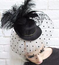 Velo Mini Sombrero De Copa mancha negra viuda Gótico Halloween Gótico VAMPIRO cadáver de la novia