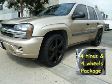 "4) 20"" Tires TrailBlazer SS Envoy Replica Wheels Rims Flt Black Package 2002 up"
