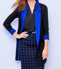 Nwt Talbots 2X (18W-20W) Merino Wool Black With Royal Blue Collar Sweater Coat