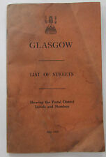 1935 vintage Glasgow list of streets showing Postal District Initials & Numbers