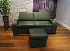 Echtleder Sofa 180cm Couch mit Schlaffunktion + Hocker 100% Echt Leder Möbel