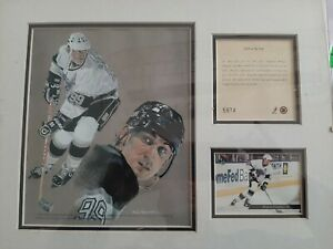 Wayne Gretzky Framed Lithograph and Card Collage by Phil Ferguson 14x11 Frame
