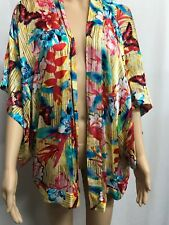SEAFOLLY SIZE S GORGEOUS FLORAL AND BUTTERFLY SILK BLEND KIMONO TOP