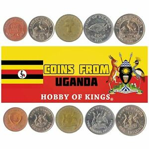 5 DIFFERENT COINS FROM UGANDA: CENTS SHILLINGS. AFRICAN MONEY CURRENCY 1966-2019