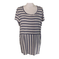 Chicos 3 Womens Top High Low Tunic Scoop Neck Shirt Striped Tee Ladies Size XL