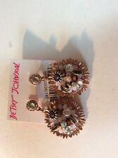 $45 BETSEY JOHNSON 'Woven' Sunflower Cluster Rose Gold-Tone Drop Earrings 403