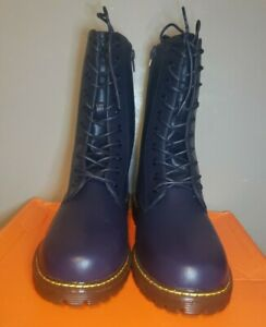 Charming Lady Women's Faux Leather Navy Blue Boots Size 8.5
