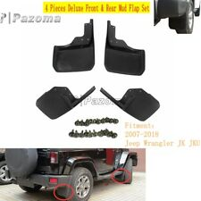 4x Black Deluxe Front & Rear Mud Flap Fender Set For Jeep Wrangler JK JKU 07-18