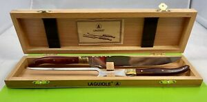 LAGUIOLE L'ECLAIR - CARVING SET - KNIFE & FORK In Box -  FRANCE