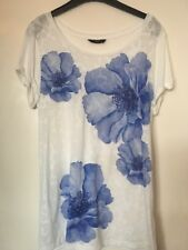 Size 14 M&Co Cap Sleeved Top Floral Blue White Textured Flowers Pretty