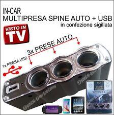 KIT MULTI PRESA 3X SDOPPIATORE ACCENDISIGARI USB AUTO PER BMW mini cooper