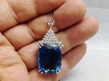 24.93Ct Genuine Natural Diamond & Blue Topaz Pendant In Solid 14K White Gold