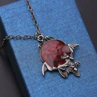 Vintage Red Crystal Vampire Gothic Bat Pendant Halloween Gifts Necklace Jewelry