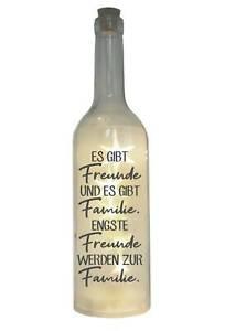 LED-Flasche mit Motiv, Es gibt Freunde und es gibt Familie, grau, 29cm, Flaschen