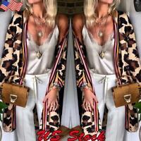 Autumn Women's Leopard Print Sweater Loose Cardigan Coat Jacket Long Sleeve Tops