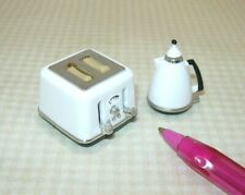 Miniature Plastic Toaster and Coffee Pot Set w/Moving Parts: DOLLHOUSE 1:12-ish