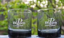 NEW PAIR OF 100 PIPERS SCOTCH BY SEAGRAM SMOKED GLASS LOWBALL GLASSES