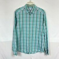 Lacoste Modern Fit Men's Long Sleeve Shirt Size 42 Large Green White Plaid