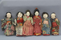 antique Japanese ichimatsu doll Japanese doll Small Ichimatsu Doll 6 Piece Set