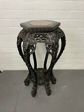 More details for antique chinese oriental rosewood hand carved marble top plant stand - cs g24