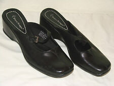 Bare Traps Womens Black Leather Mary Jane Wedge Mule Shoe - Size 9M