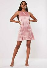 Missguided Blush Pink Satin Halterneck Flippy Hem Dress BNWT 12