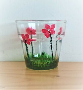 Handpainted Candle Holder Tealight Red Flowers Diamond Sparkle Glass gift green