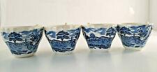 Set of 4 Vtg Delft Blue Tea Cups English countryside estate and coach England