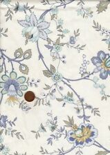 100% Cotton Interiors Fabric 'Chintz' by Vymura 1970s Vtg Floral Blue Sand White