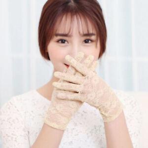 1 Pairs Sexy Lace Wrist Length Gloves w/ Ruffle Bride Wedding Prom Anti UV