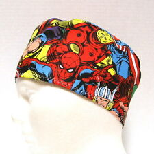 Mens Super Heros Scrub Hat, Surgical Cap, Skull Cap, Chemo Hat