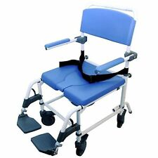 """HEALTHLINE MEDICAL ALUMINUM SHOWER COMMODE CHAIR WIDE SEAT (185) 20"""""""