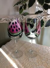hand painted watermelon slices and aunt wine glasses - set of 2
