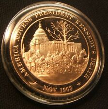 1963~FRANKLIN MINT MEDAL~AMERICA MOURNS KENNEDY'S DEATH~SOLID BRONZE W/AIR-TITE