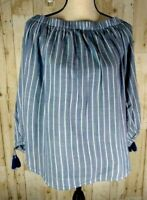 Old Navy Women's Top Blue White Stripe Strapless Long Sleeve Casual Top XL NWT