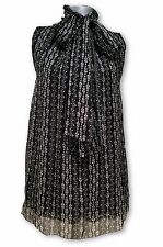 DOLCE & GABBANA BLACK FLORAL SHEER SILK SLEEVELESS BLOUSE, 38, $695