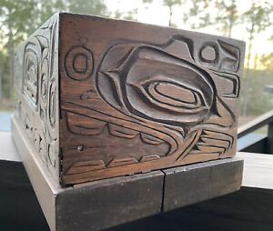 Northwest Coast Large Old Carved Cedar Box!!! WOW!!!!!