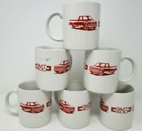 Vintage GMC Truck GMT 400 Coffee Cup Mugs White Red GMC Pickup GM Lot of 6
