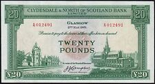 1951 CLYDESDALE & NORTH OF SCOTLAND BANK LIMITED £20 BANKNOTE * EF-gEF *
