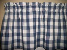 Navy Blue White Checked bufflo country retro fabric kitchen curtain Valance
