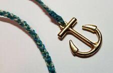 Bracelet green white surfer cord. Pura Vida Gold Anchor Wrap